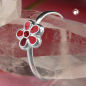 Preview: Ring Kinderring mit Blume rot Silber 925 Ringgröße 44